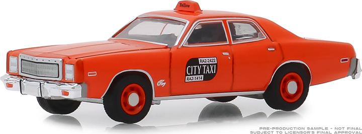 30057 - 1:64 1977 Plymouth Fury - Binghamton, New York City Taxi - 7 Original Miles on Odometer