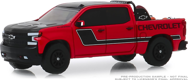 30087 - 1:64 2019 Chevrolet Silverado in Red with Safety Equipment in Truck Bed