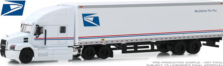 30090 - 1:64 2019 Mack Anthem 18 Wheeler Tractor-Trailer - United States Postal Service (USPS) We Deliver For You