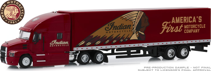 30096 - 1:64 2019 Mack Anthem 18 Wheeler Tractor-Trailer - Indian Motorcycle America's First Motorcycle Company