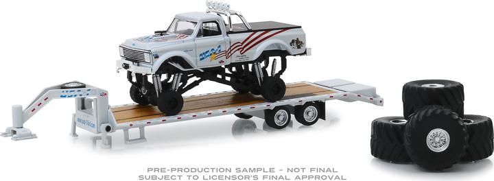 30101 - 1:64 USA-1 - 1970 Chevrolet K-10 Monster Truck on Gooseneck Trailer