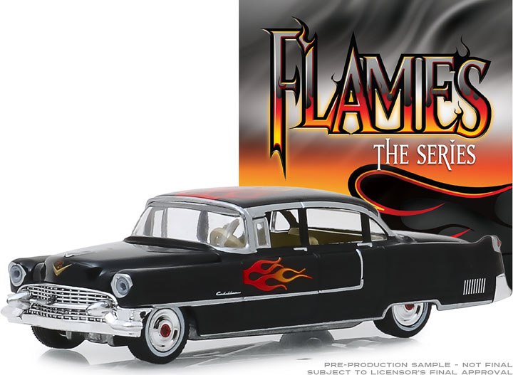 30105 - 1:64 Flames The Series - 1955 Cadillac Fleetwood Series 60 Special - Black with Flames