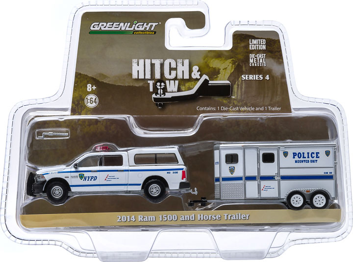 32040-D - 1:64 Hitch & Tow Series 4 - 2014 Ram 1500 NYPD and NYPD Horse Trailer Solid Pack