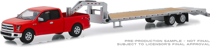 32151 - 1:64 Hitch & Tow - 2017 Ford F-150 in Red and Gooseneck Trailer in Silver
