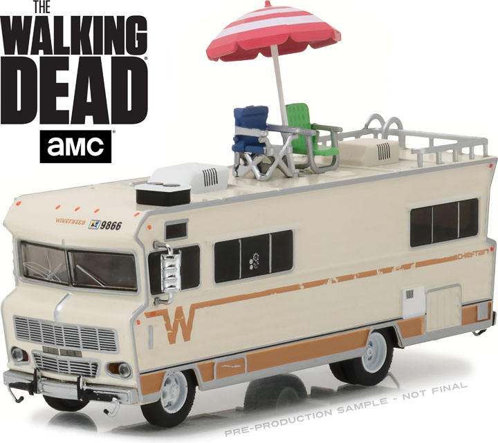 33100-B - 1:64 H.D. Trucks Series 10 - The Walking Dead (2010-Current TV Series) - Dale's 1973 Winnebago Chieftain with Umbrella and Camping Chairs