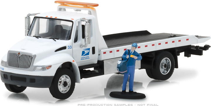 33110-B - 1:64 H.D. Trucks Series 11 - 2013 International Durastar Flatbed United States Postal Service (USPS) with USPS Mailman Figure