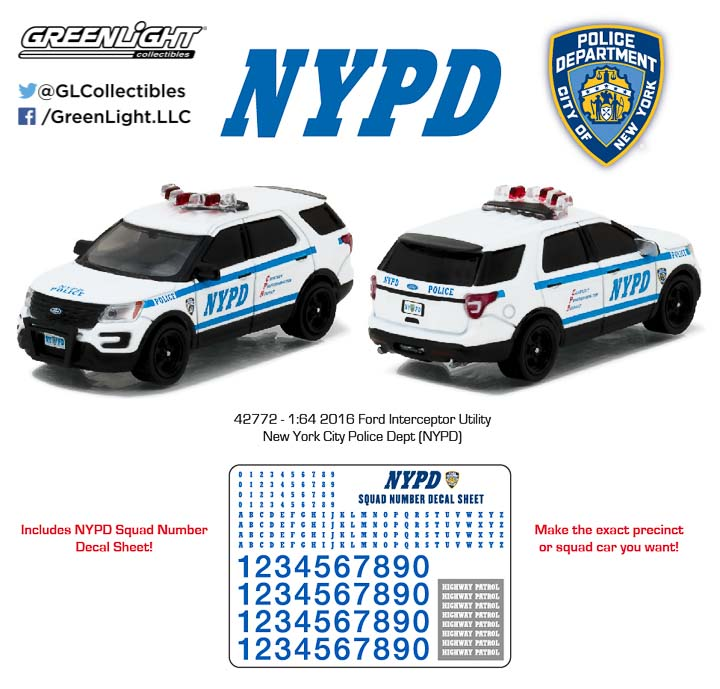 42772 - 1:64 Hot Pursuit - 2016 Ford Interceptor Utility New York City Police Dept (NYPD)