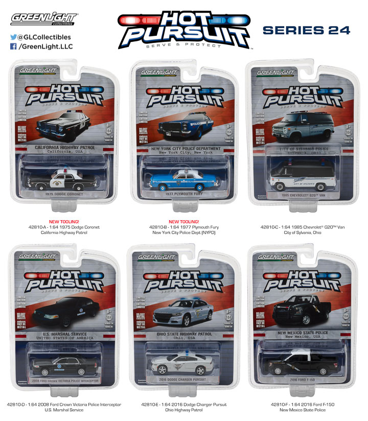 2018 Dodge Charger POLICE New Hampshire State ** Greenlight Hot Pursuit 1:64 NEU