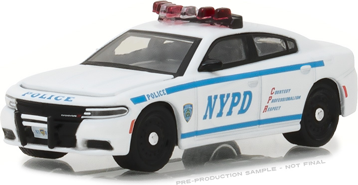 42821 - 1:64 Hot Pursuit - 2017 Dodge Charger New York City Police Dept (NYPD) with NYPD Squad Number Decal Sheet