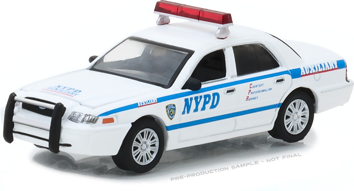 42822 - 1:64 Hot Pursuit - 2011 Ford Crown Victoria Police New York City Police Dept (NYPD) Auxiliary with NYPD Squad Number Decal Sheet