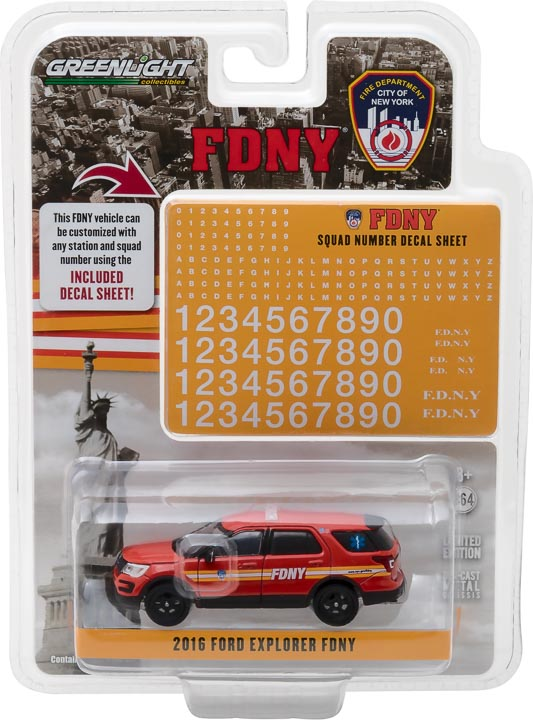 42823 - 1:64 Hot Pursuit - 2016 Ford Interceptor Utility Official Fire Department City of New York (FDNY) with FDNY Squad Number Decal Sheet