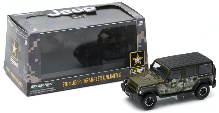 1:43 2014 Jeep Wrangler Unlimited - U.S. Army (Hard Top, Dark Green)