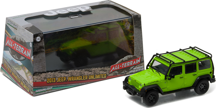 1:43 2013 Jeep Wrangler Unlimited - Moab Edition Gecko Green with Roof Rack