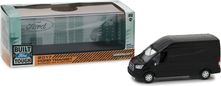 86084 - 1:43 2017 Ford Transit Extended Van High Roof - Black