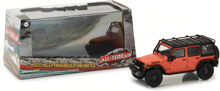 86088 - 1:43 2015 Jeep Wrangler Unlimited Willy's Wheeler Edition - Sunset Orange Metallic with Off-Road Bumpers and Roll Cage