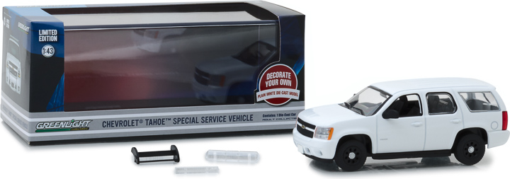 86096 - 1:43 2010-2012 Chevy Tahoe Police - Plain White