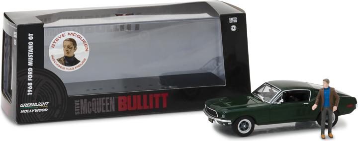 86433 - 1:43 Hollywood - Bullitt (1968) - 1968 Ford Mustang GT Fastback with Steve McQueen Figure